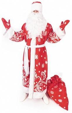 Новогодний костюм Деда Мороза снежный взрослый красный abfeef31b17