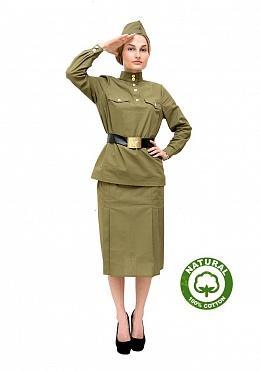 Военный костюм гимнастерка с юбкой женский 100% хлопок a210e91aa205a