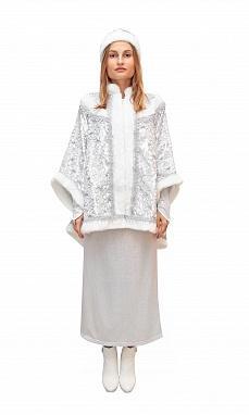 Костюм Снегурочки с платьем голография и панбархатным пиджаком