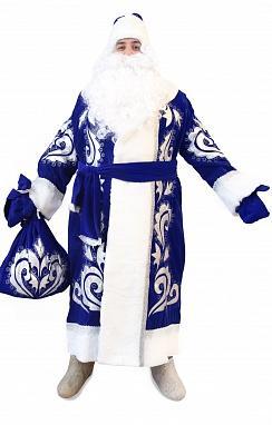 Костюм Деда Мороза синий бархат с вышивкой